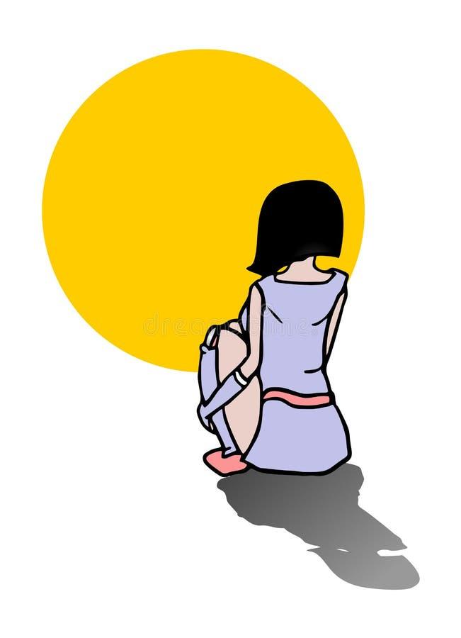 Menina antes do sol ilustração royalty free