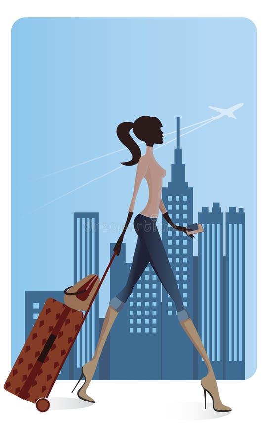 A menina apressa-se no aeroporto ilustração stock