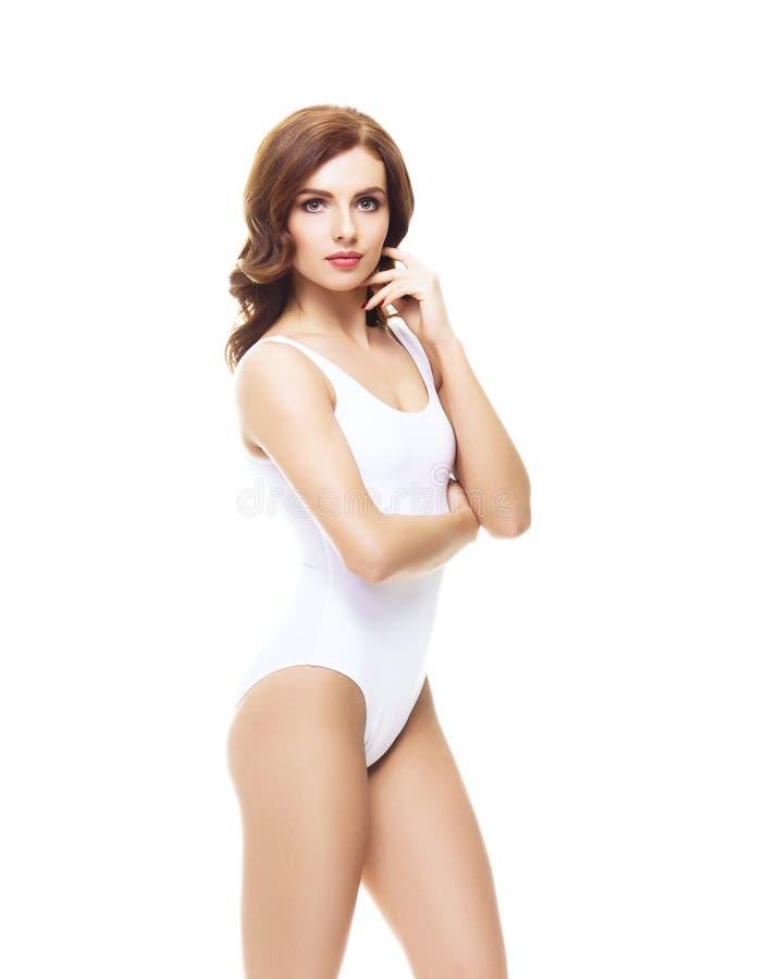 Menina apta e desportiva no roupa interior branco Wo bonito e saudável imagem de stock