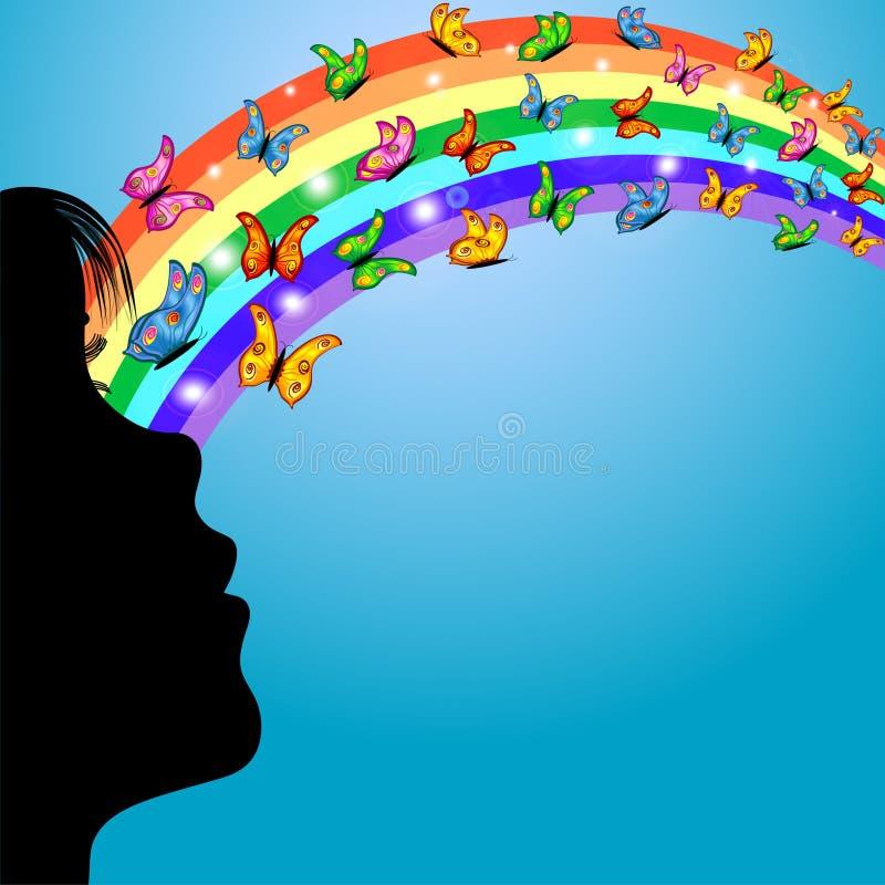 Menina, arco-íris e borboletas ilustração do vetor