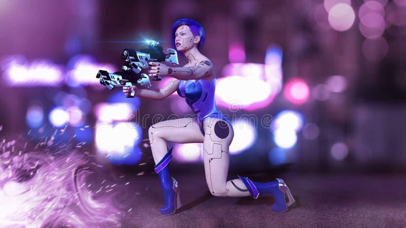 A menina armou-se com as armas que ajoelha-se, tiro fêmea do Cyborg do robô da batalha, mulher na rua da cidade da noite, 3D do a ilustração stock