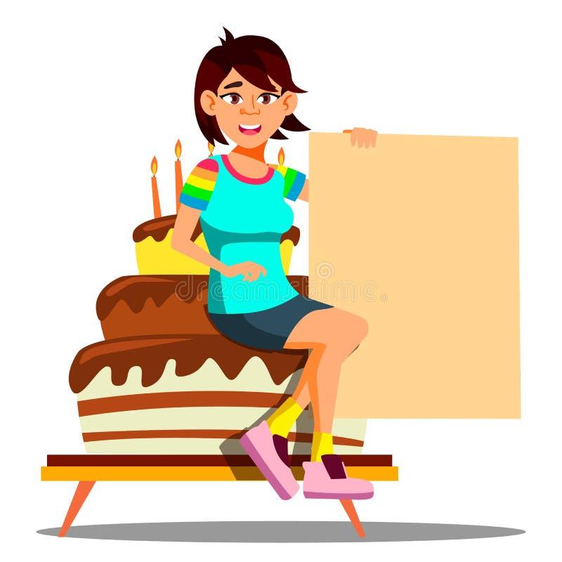 Menina asiática bonita que senta-se em um bolo grande do partido com vetor vazio da bandeira Ilustração isolada ilustração do vetor