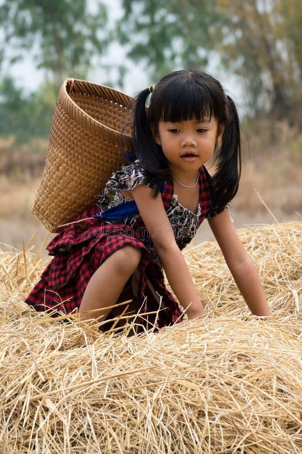Menina asiática bonito com cesta foto de stock royalty free