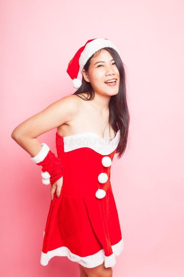 Menina asiática bonito de Santa Claus do Natal foto de stock