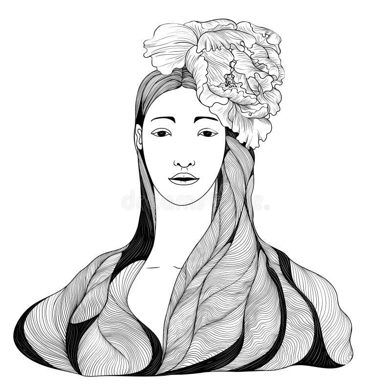 A menina asiática com cabelo longo e a peônia florescem em sua cabeça Desenho do vetor Fôrma e beleza Use materiais impressos, si ilustração royalty free