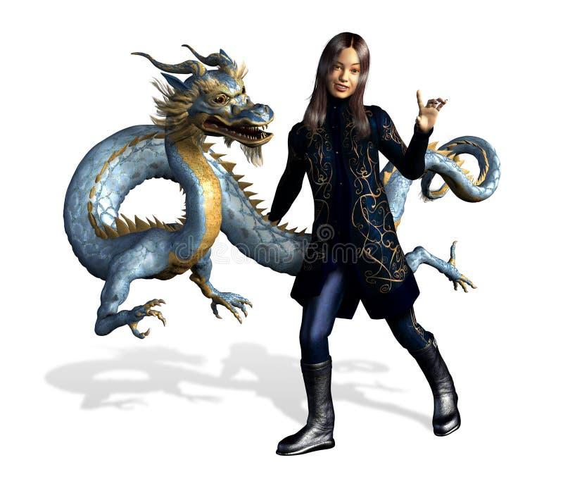 Menina asiática com dragão - inclui o trajeto de grampeamento ilustração royalty free