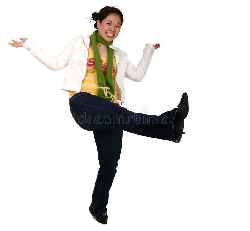 Menina asiática com expressão do divertimento imagem de stock