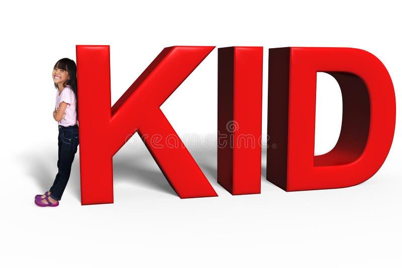 Menina asiática com letras grandes da CRIANÇA 3d fotografia de stock royalty free