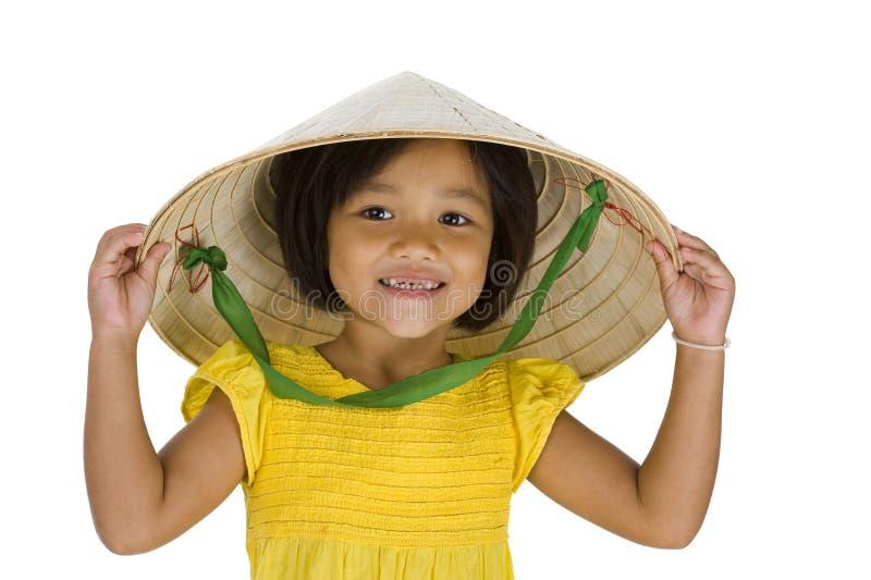 Menina asiática do fazendeiro com dentes faltantes fotos de stock