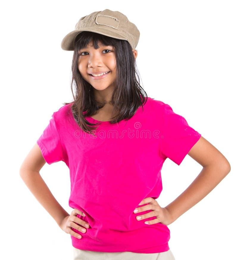 Menina asiática do Preteen novo com um tampão IV fotos de stock royalty free