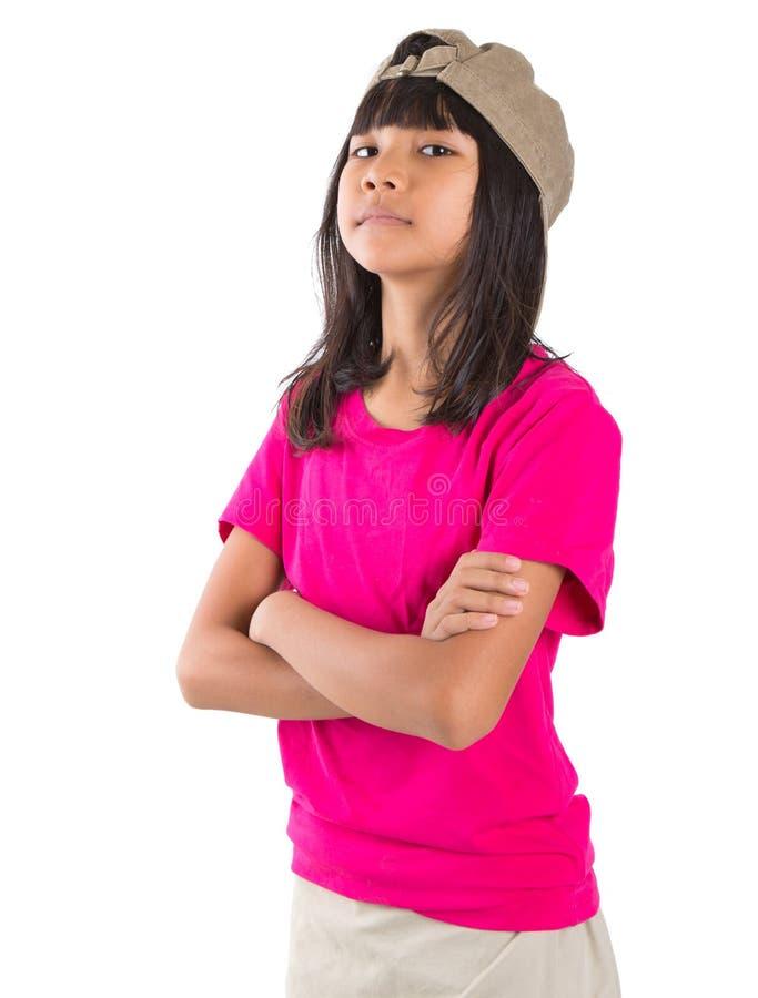 Menina asiática do Preteen novo com um tampão VI foto de stock