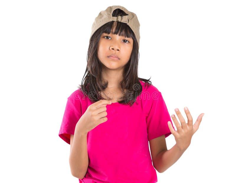 Menina asiática do Preteen novo com um tampão XI fotografia de stock royalty free
