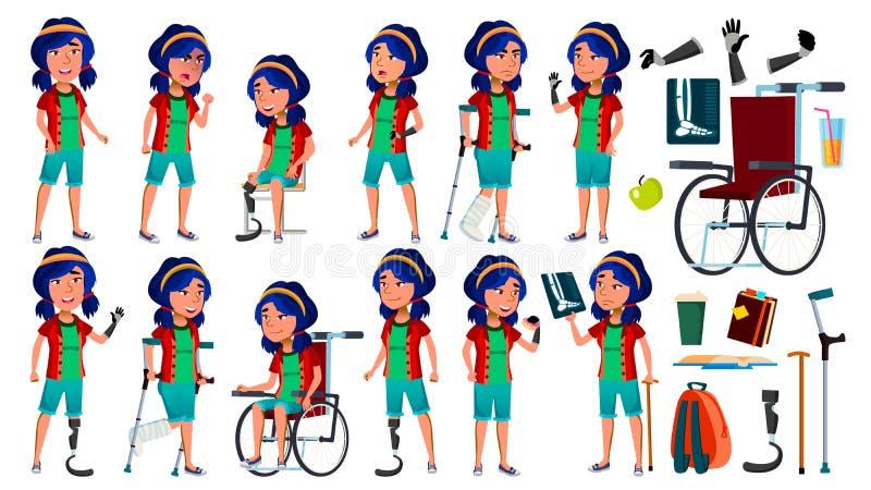 A menina asiática levanta vetor ajustado teenage Conceito da saúde Cyborg, híbrido wheelchair Prótese da amputação Para a Web, ca ilustração do vetor