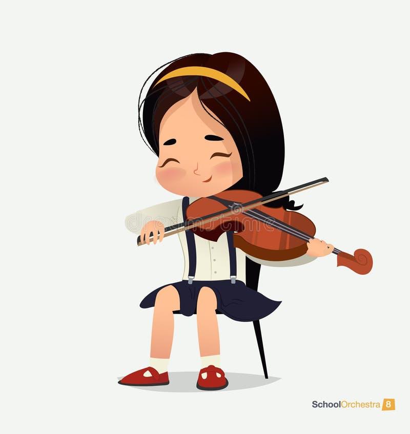 A menina asiática na saia azul senta-se no violino do jogo da cadeira ilustração royalty free