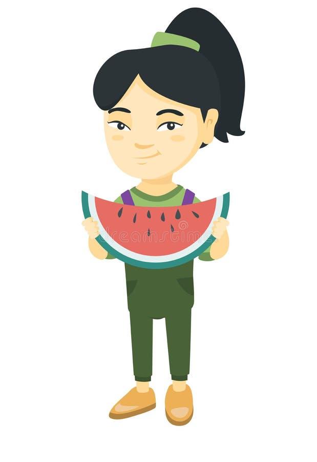 Menina asiática nova que come a melancia deliciosa ilustração do vetor