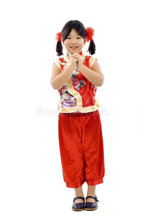 Menina asiática pequena - ano novo chinês foto de stock royalty free
