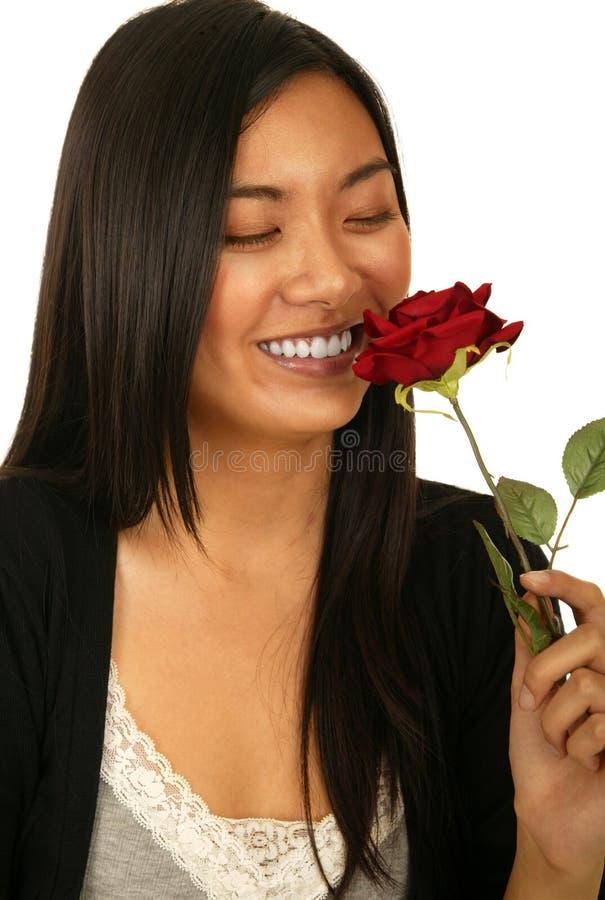 Menina asiática que cheira Rosa fotografia de stock