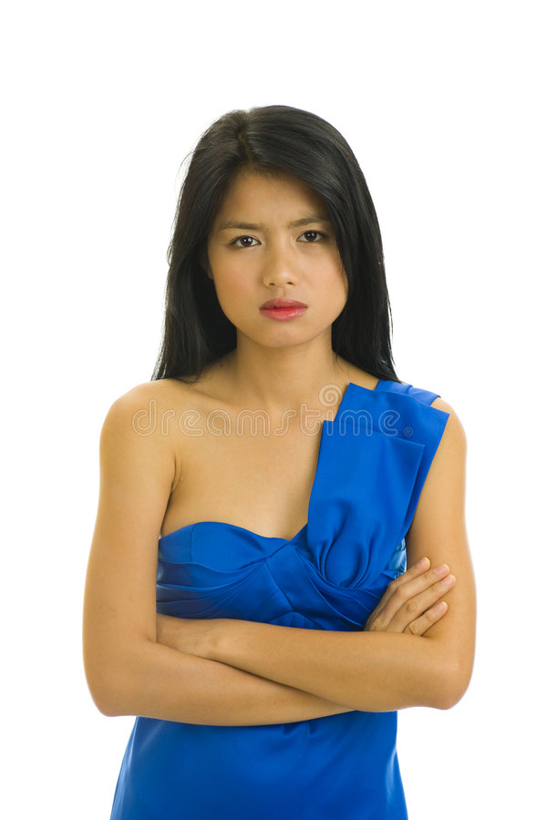 Menina asiática temperamental no branco imagens de stock royalty free