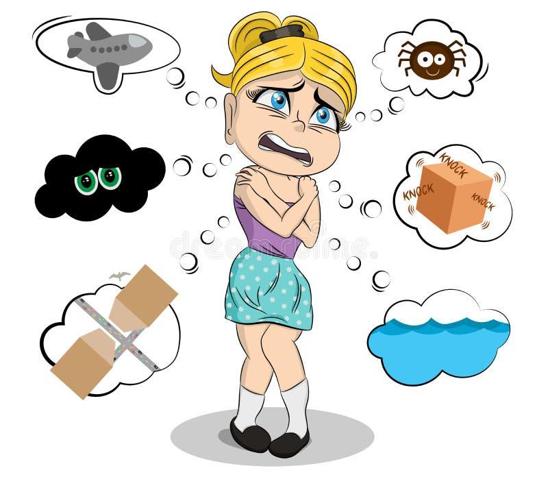 Menina assustado com várias fobias Obsessão colorida e isolada do medo da fobia Aerophobia, arachnophobia, nyctophobia ilustração stock