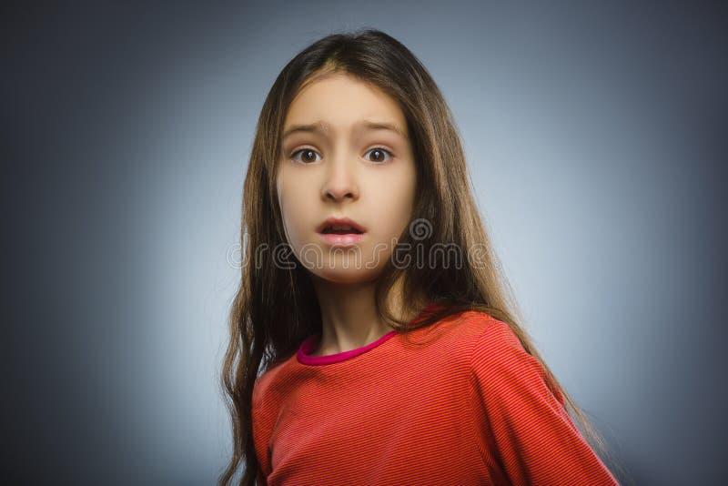 Menina assustado e chocada do close up Expressão humana da cara da emoção fotos de stock