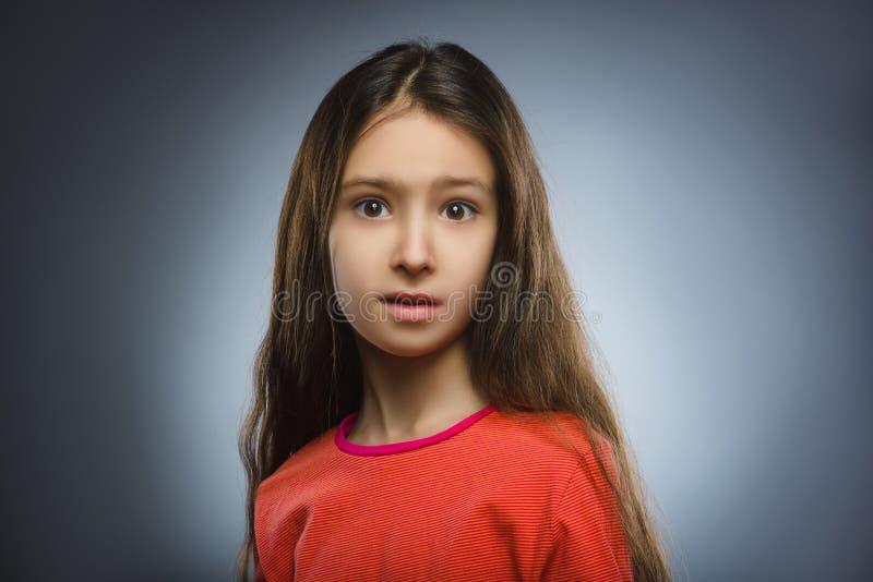 Menina assustado e chocada do close up Expressão humana da cara da emoção imagens de stock
