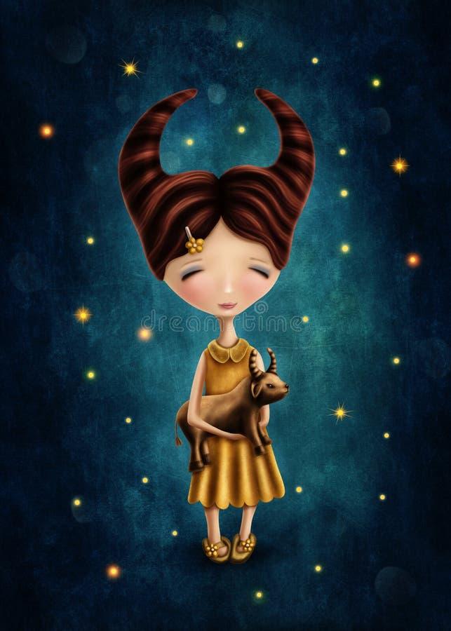 Menina astrológica do sinal do Touro ilustração royalty free