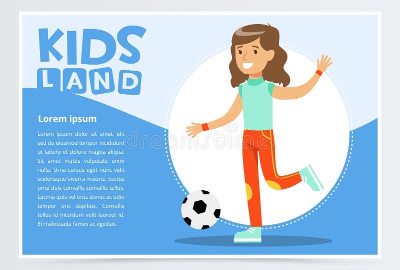 A menina ativa bonita que joga o futebol, crianças aterra o elemento liso do vetor da bandeira para o Web site ou o app móvel ilustração do vetor