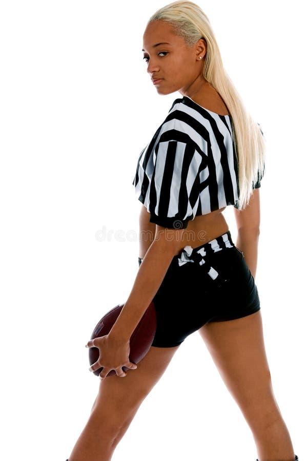 Menina ativa do futebol fotografia de stock