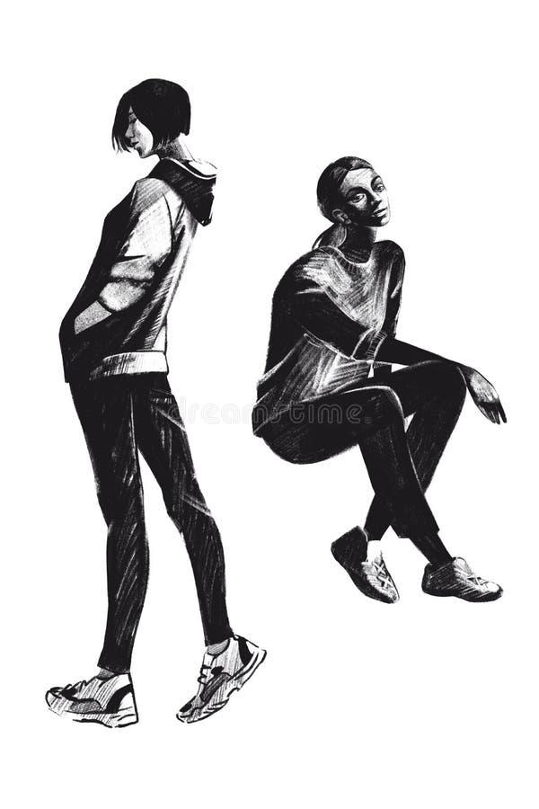 Menina atlética da ilustração da quadriculação de Digitas e menina de assento cor preta em objetos isolados no fundo branco para  ilustração stock
