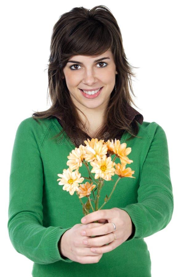 Menina atrativa com flores fotografia de stock royalty free