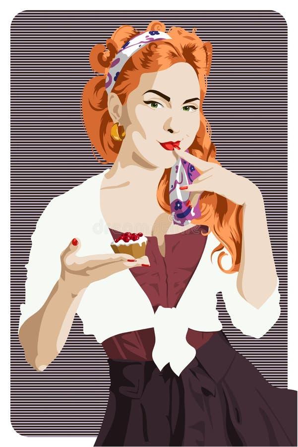 Menina atrativa do estilo do pino-acima que guarda um bolo ilustração royalty free