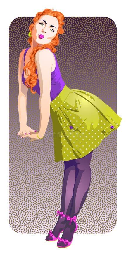 Menina atrativa do pino-acima com cabelo vermelho impetuoso ilustração royalty free