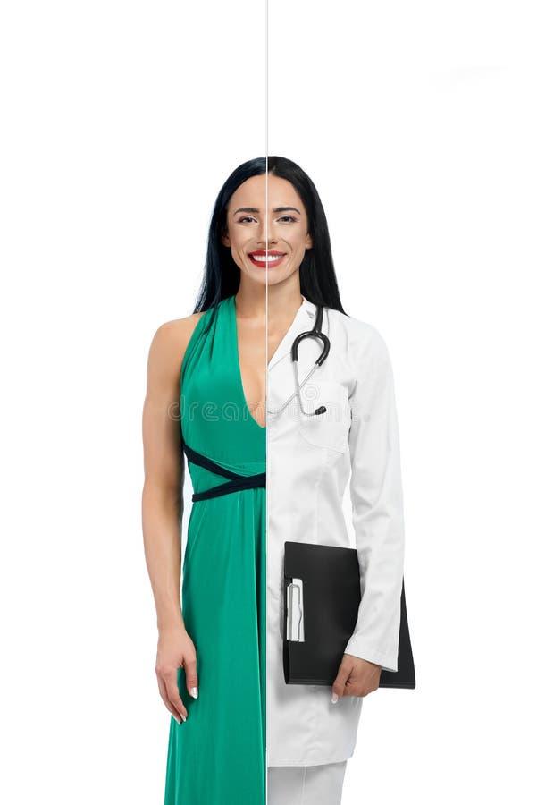 Menina atrativa em duas ocupações do modelo e do doutor imagem de stock royalty free