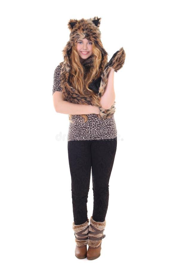 Menina atrativa no traje do gato imagem de stock