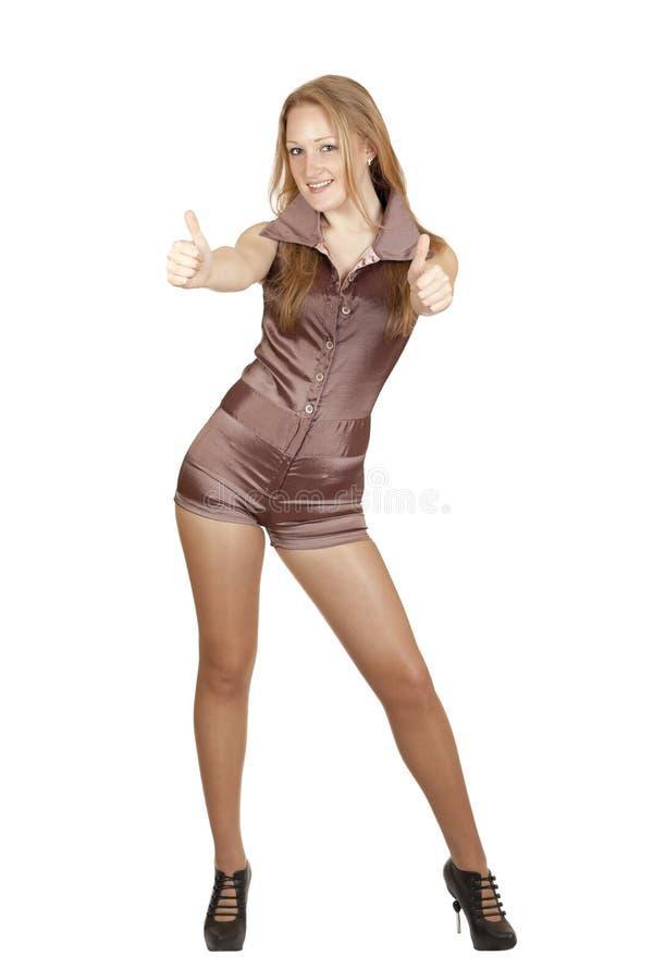 Menina, blonde que empurra suas mãos imagens de stock