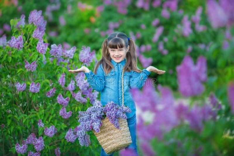 Menina bonita adorável bonito da mulher da senhora com cabelo moreno em um prado do arbusto roxo lilás Povos no desgaste das calç imagem de stock