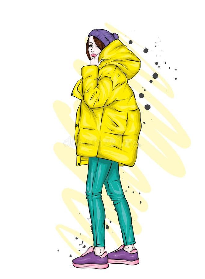 Menina bonita, alta e delgada em um revestimento à moda e na calças Mulher à moda em sapatas alto-colocadas saltos Forma & estilo ilustração stock
