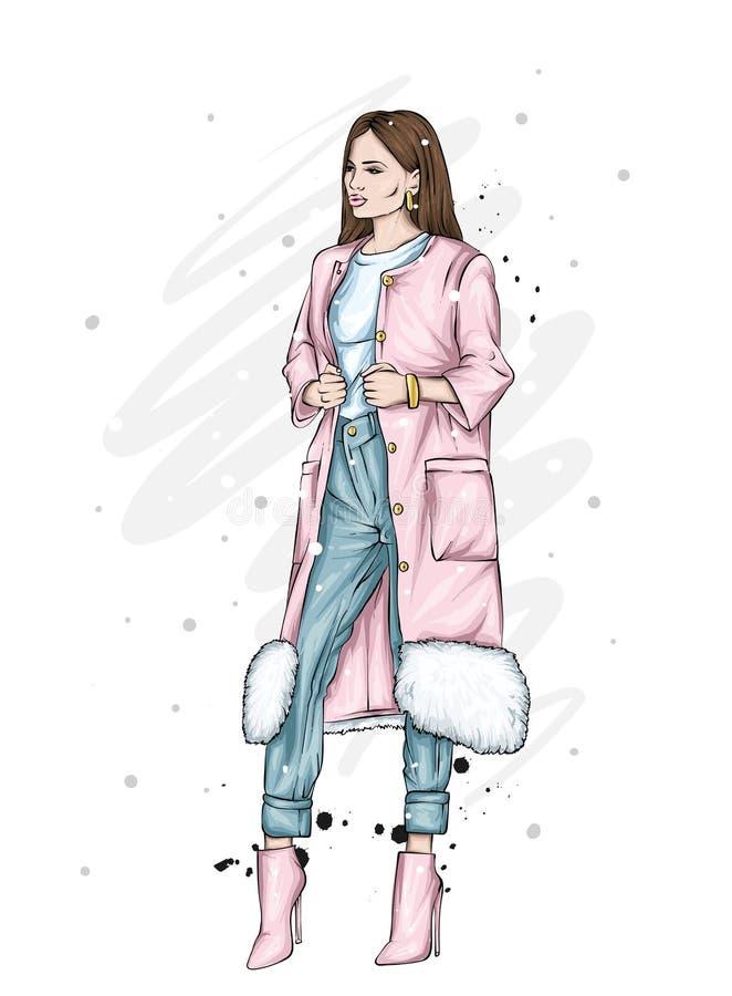 Menina bonita, alta e delgada em um revestimento à moda, na calças, e nos vidros Mulher à moda em sapatas alto-colocadas saltos F ilustração royalty free