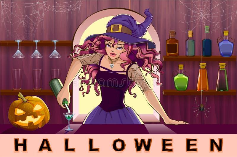 A menina bonita bonita da bruxa derrama o partido de Dia das Bruxas dos cocktail ilustração royalty free