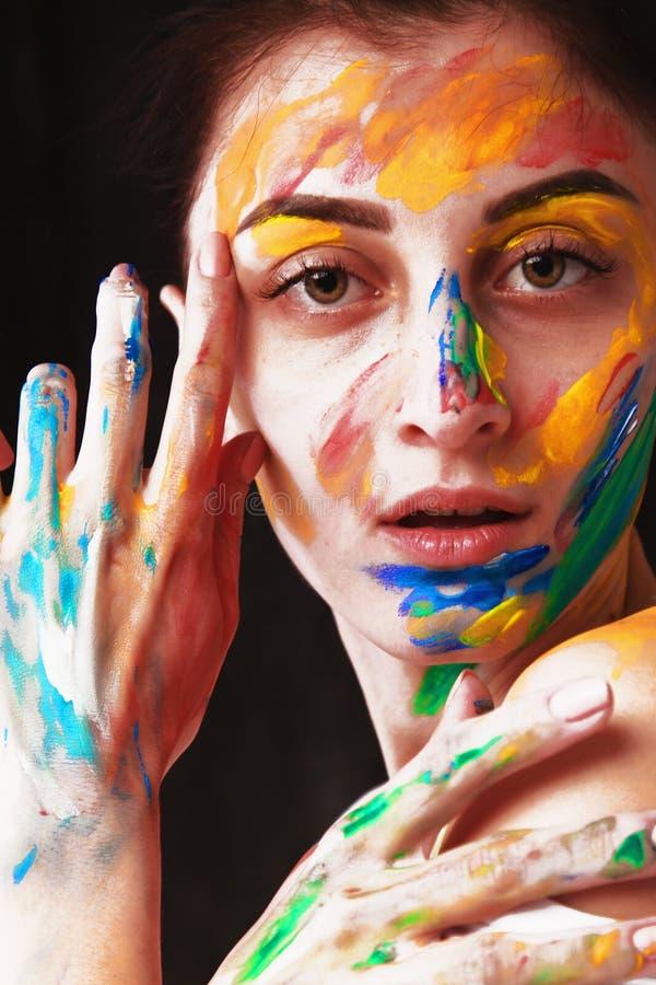 Menina bonita brilhante com composição colorida da arte fotografia de stock royalty free