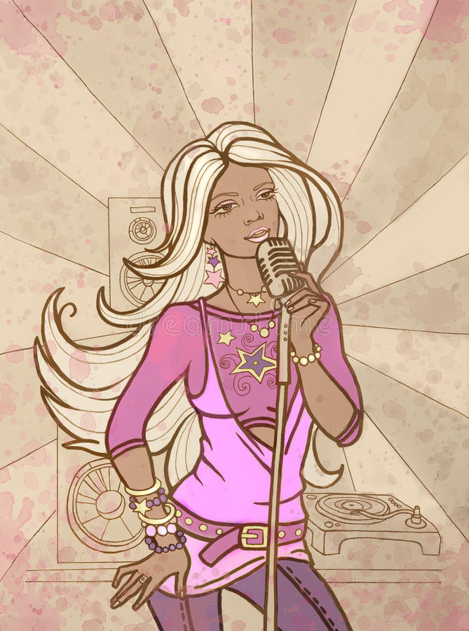 A menina bonita canta ilustração do vetor