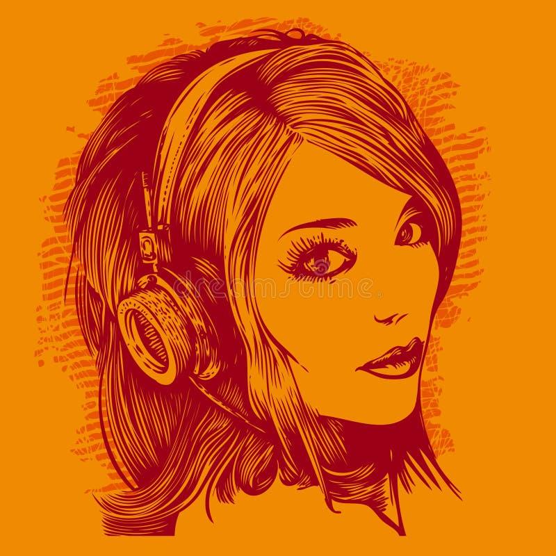 A menina bonita com auscultadores escuta música ilustração royalty free