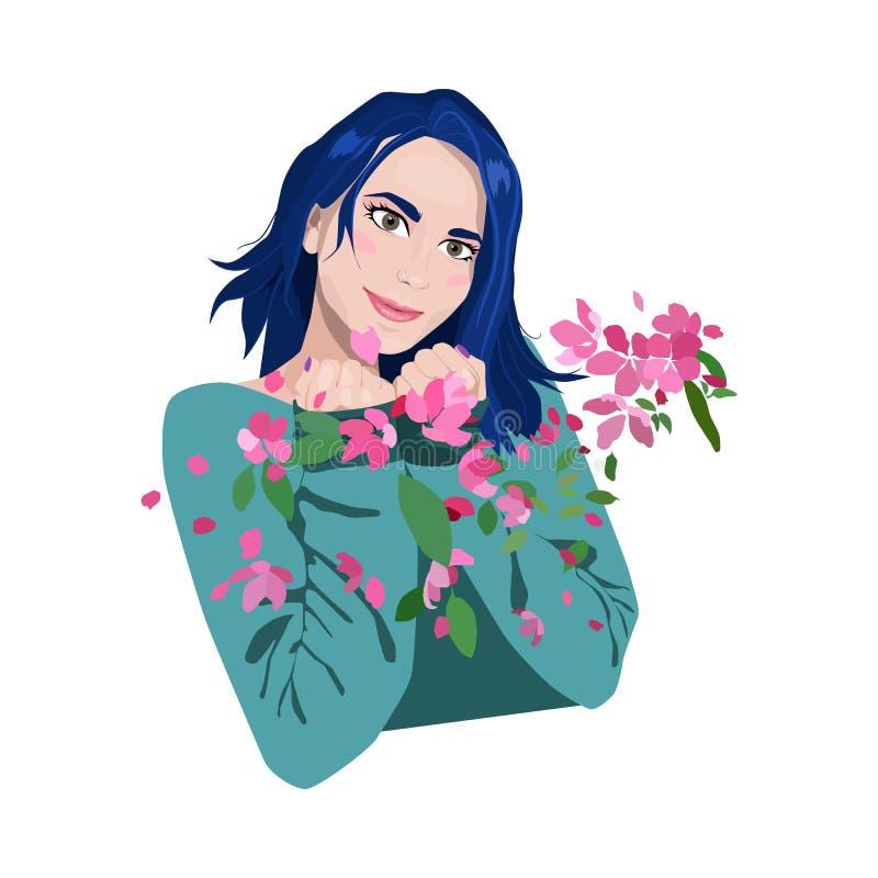 Menina bonita com cabelo azul As p?talas de Sakura est?o voando no vento ilustração royalty free
