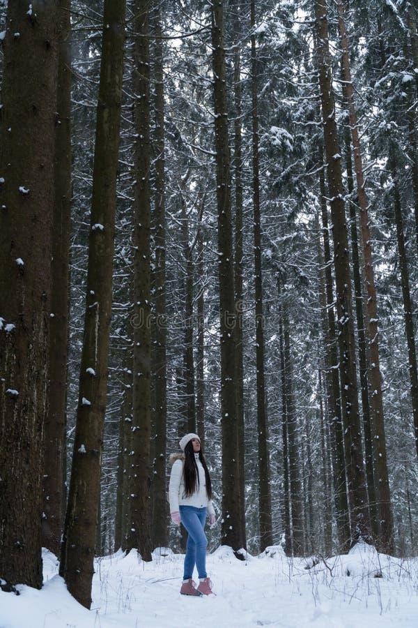 Menina bonita com cabelo escuro longo em um revestimento branco que anda em uma floresta do inverno durante uma queda de neve fotos de stock