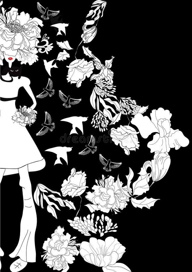 Menina bonita com cabelo floral ilustração stock