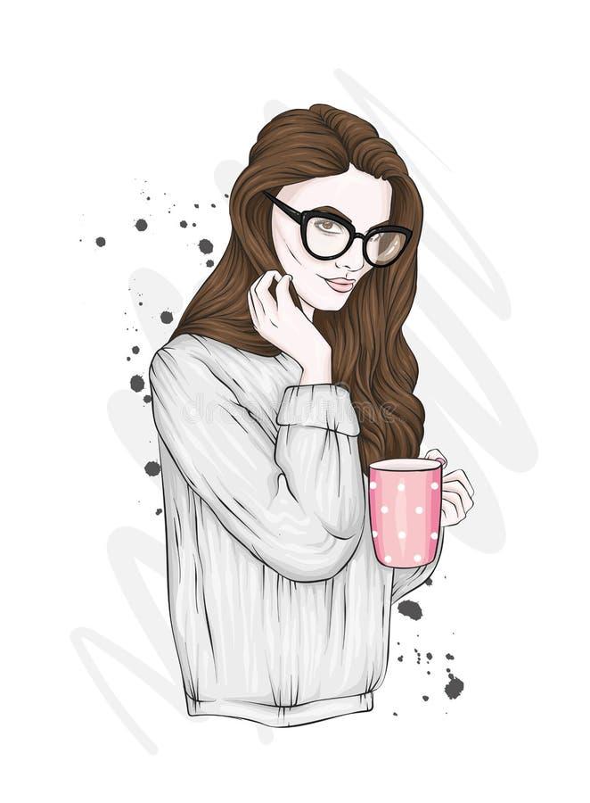Menina bonita com cabelo longo em um tampão e em um sutiã do ` s do ano novo Donzela 'sexy' da neve Vector a ilustração para um c ilustração royalty free