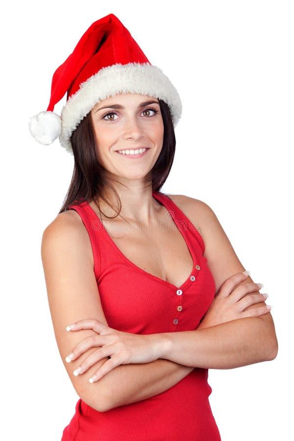 Menina bonita com chapéu do Natal imagens de stock