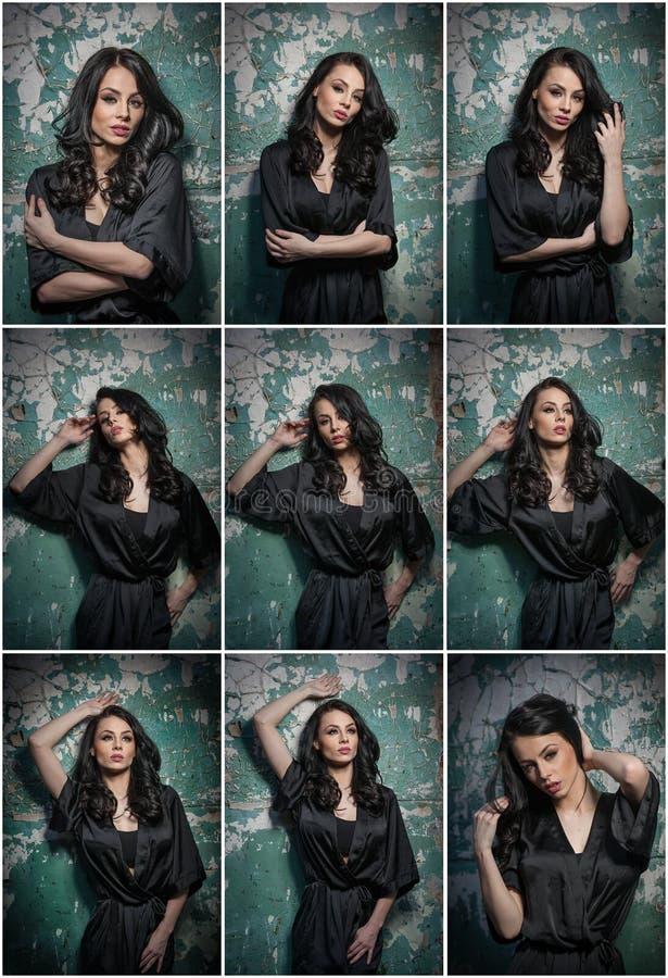 Menina bonita com a composição que levanta contra a parede velha com descascamento da pintura verde Brunette bonito no preto Mulh foto de stock