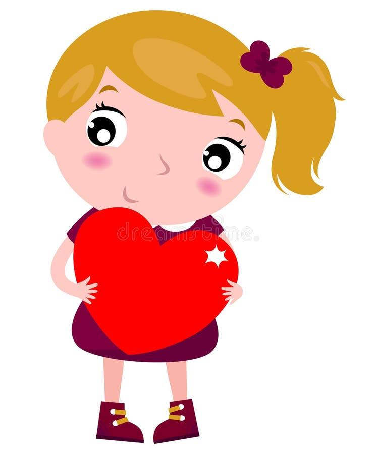 Primeiro amor - menina bonito que guardara o coração vermelho ilustração royalty free