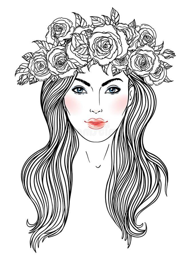 A menina bonita com a coroa das rosas floresce em seu cabelo Porto fêmea ilustração royalty free